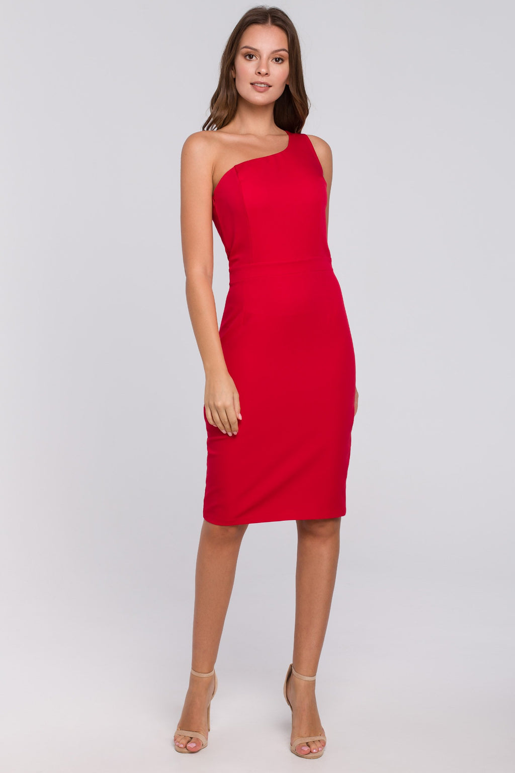 Red Fitted One Shoulder Dress - So Chic Boutique