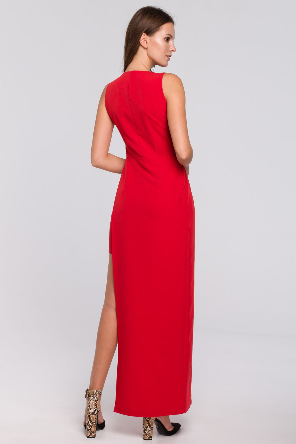 Red Maxi Asymmetric Cut Dress - So Chic Boutique