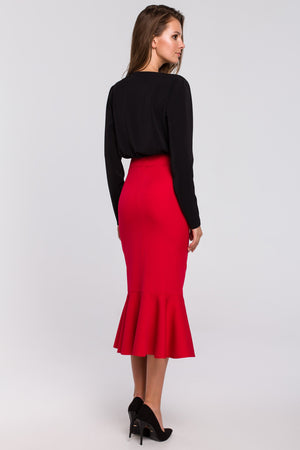 Red Midi Ruffle Hem Skirt - So Chic Boutique