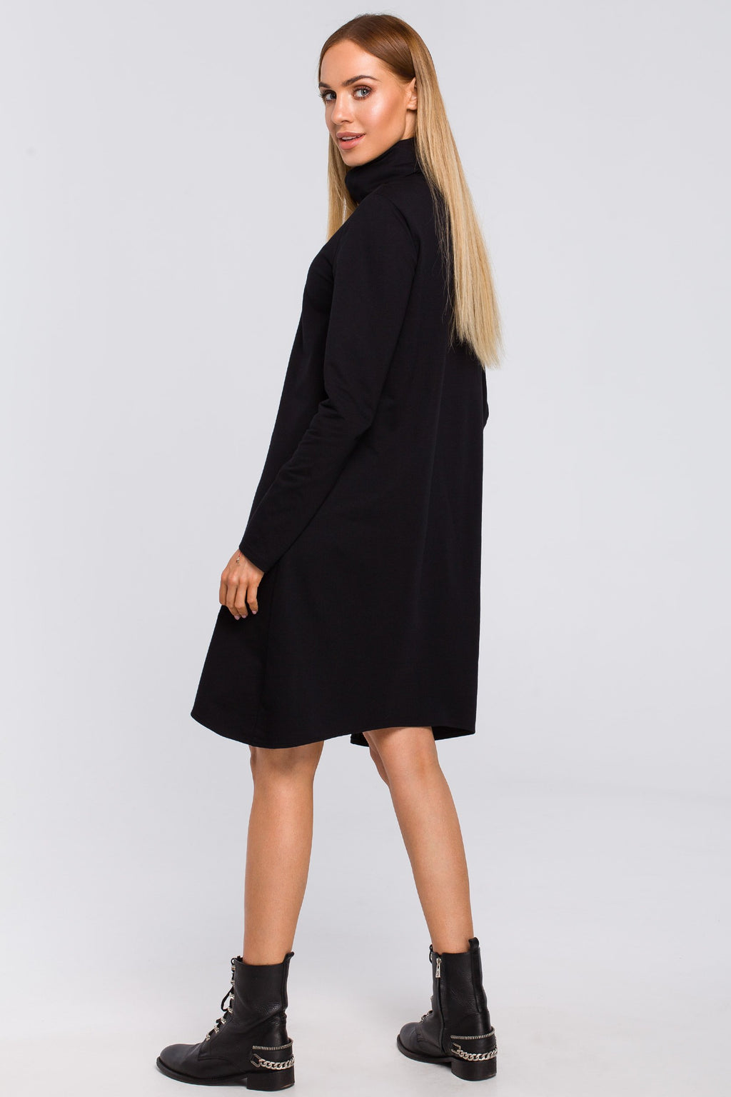 Black Cotton Turtleneck Trapeze Dress - So Chic Boutique