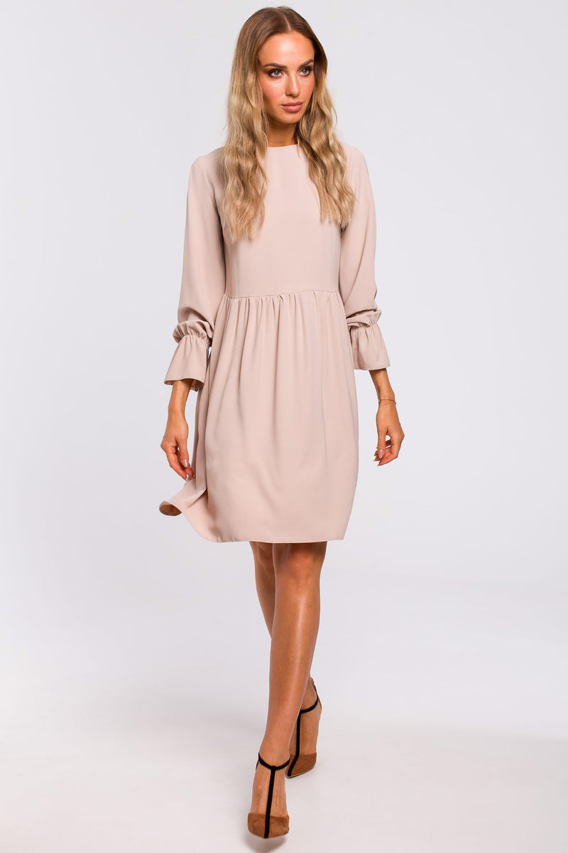 Beige Loose Dress With Tied Bell Sleeves - So Chic Boutique