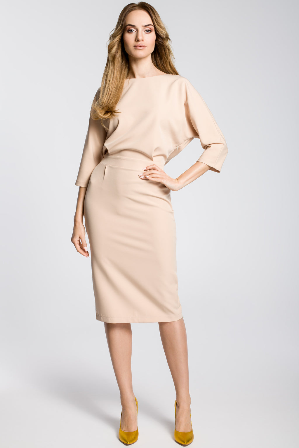 Beige Midi Dress With Loose Fitting Top - So Chic Boutique