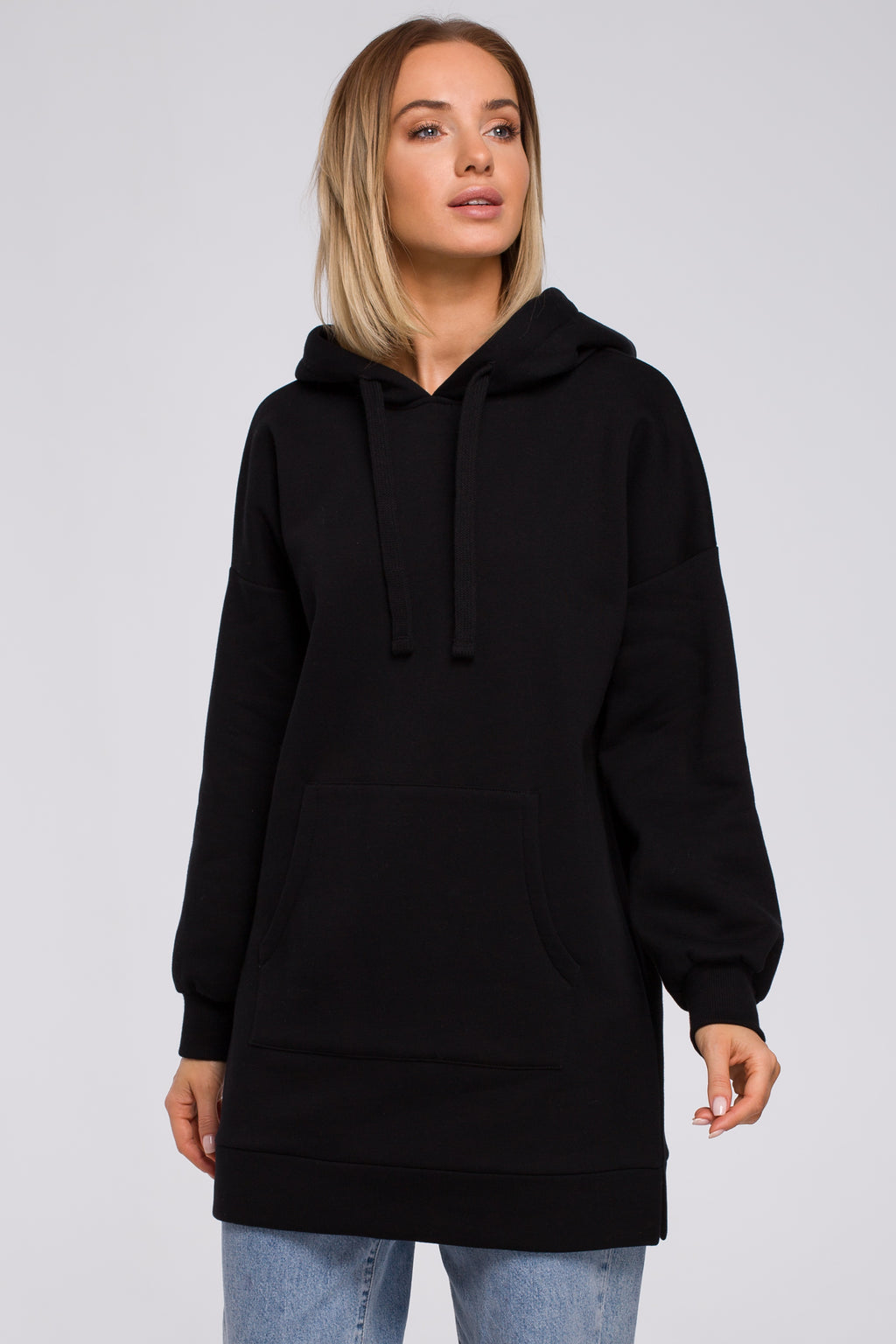Black Long Sweatshirt With A Hood - So Chic Boutique