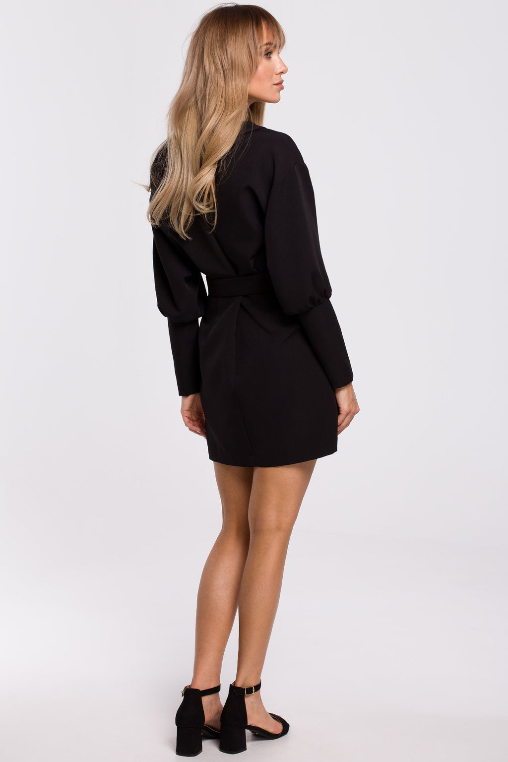 Black Mini Blazer Dress With Kimono Sleeves - So Chic Boutique