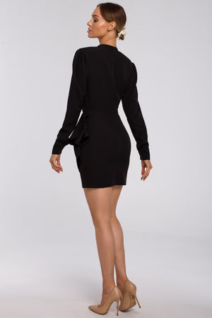 Black Mini Dress With Draped Side Detail - So Chic Boutique