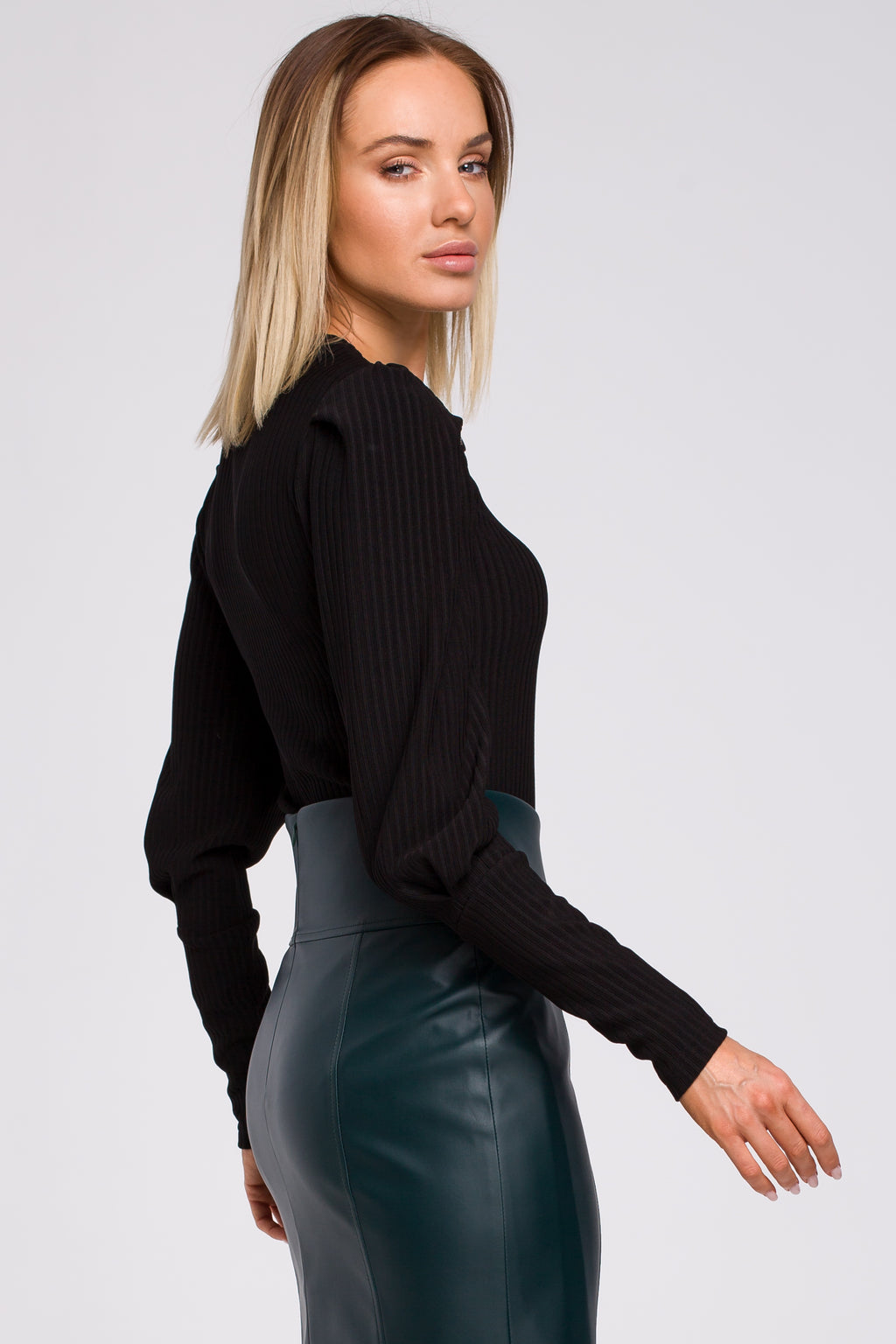 Black Ribbed Blouse With Decorative Buttons - So Chic Boutique