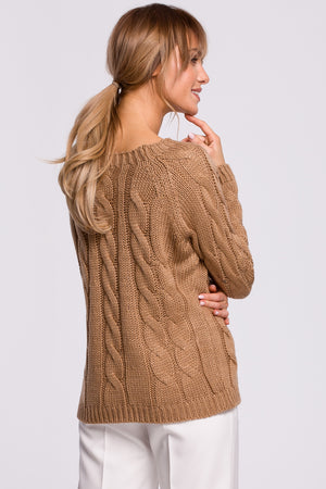 Cappuccino Bateau Neckline Sweater With Braids - So Chic Boutique