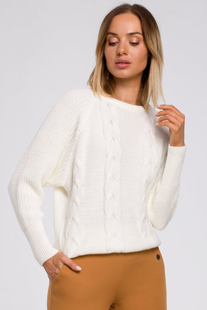 Classic Ecru Sweater With Braids - So Chic Boutique