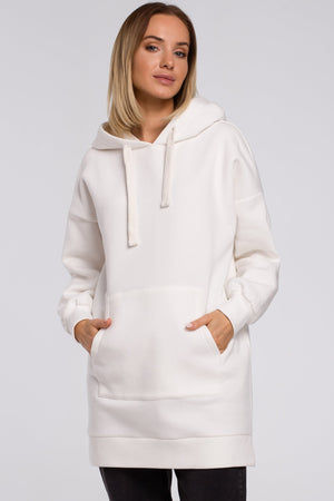 Ecru Long Sweatshirt With A Hood - So Chic Boutique