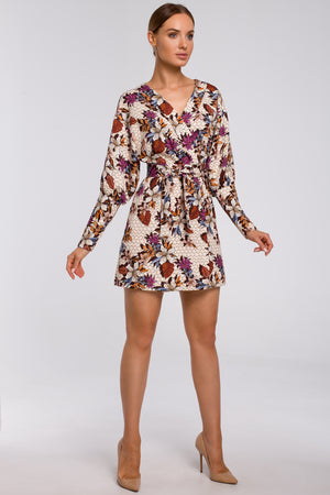 Beige Floral Print Mini Blazer Dress - So Chic Boutique