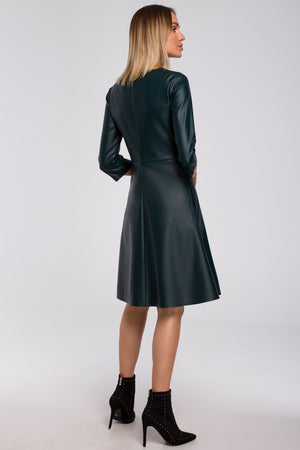 Green Faux Leather A Line Dress - So Chic Boutique