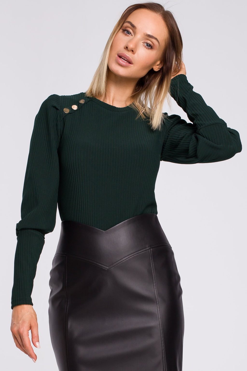 Green Ribbed Blouse With Decorative Buttons - So Chic Boutique