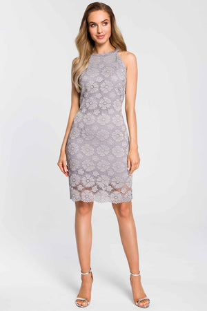 Grey Halterneck Lace Dress - So Chic Boutique