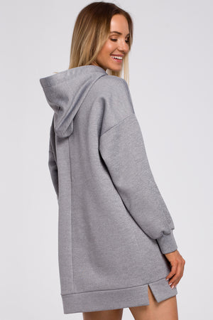 Grey Long Sweatshirt With A Hood - So Chic Boutique