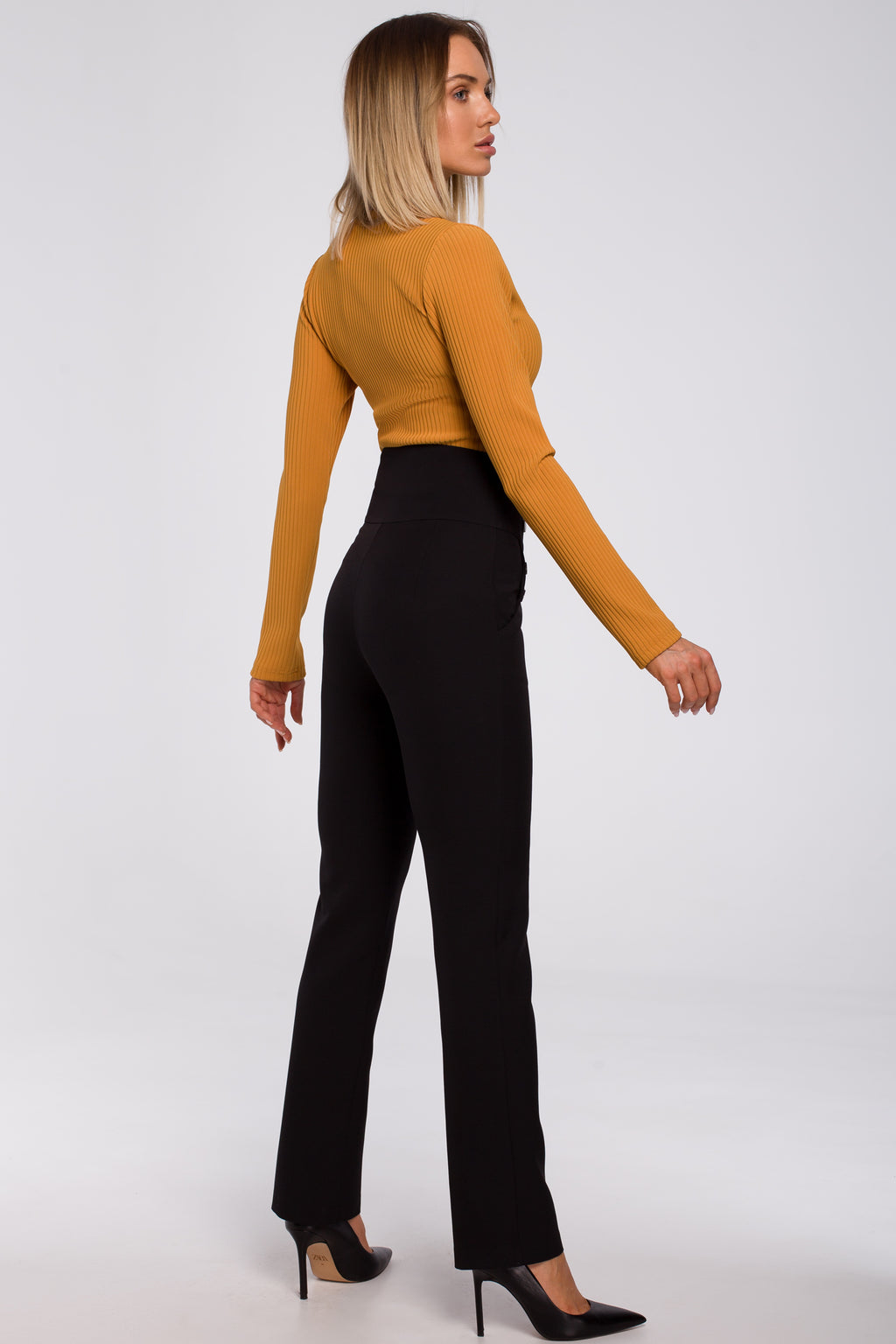 High Waist Black Trousers With Decorative Side Press Studs - So Chic Boutique