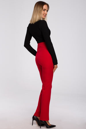High Waist Red Trousers With Decorative Side Press Studs - So Chic Boutique