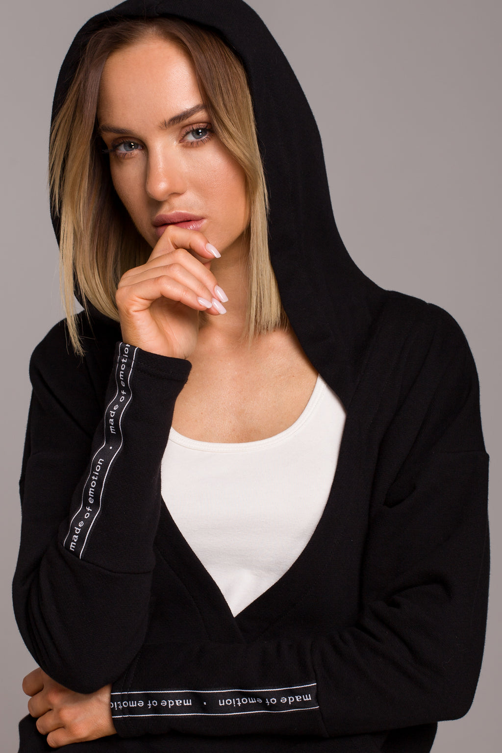 Kangaroo Pocket Black Hoodie With Wrap Front - So Chic Boutique