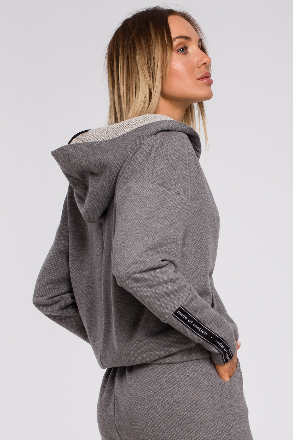 Kangaroo Pocket Grey Hoodie With Wrap Front - So Chic Boutique