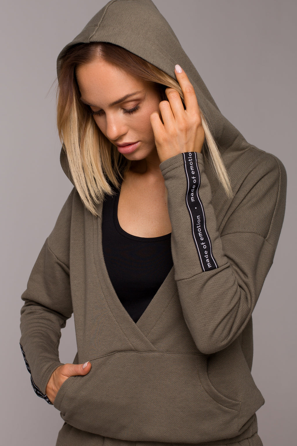 Kangaroo Pocket Khaki Hoodie With Wrap Front - So Chic Boutique