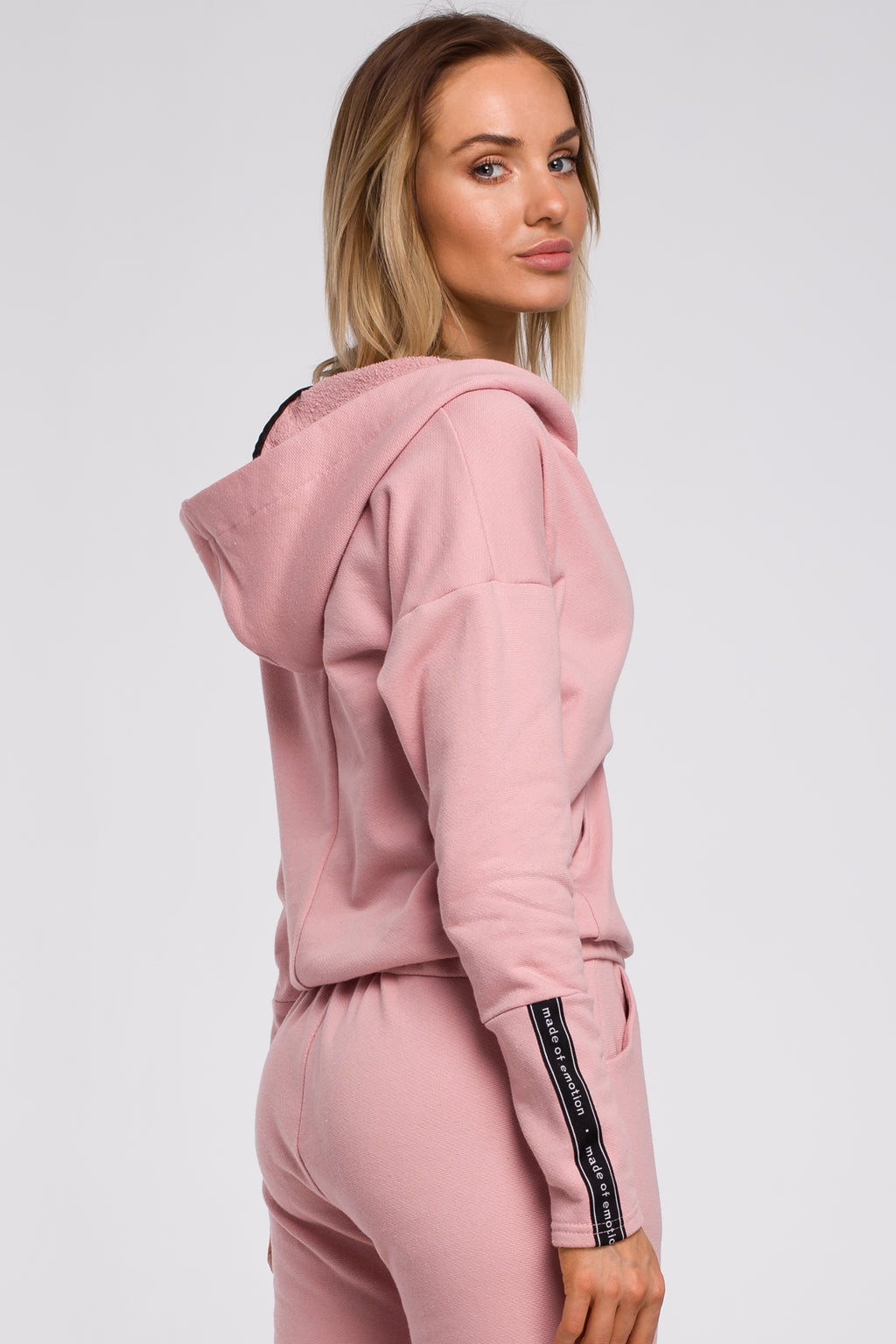 Kangaroo Pocket Powder Pink Hoodie With Wrap Front - So Chic Boutique