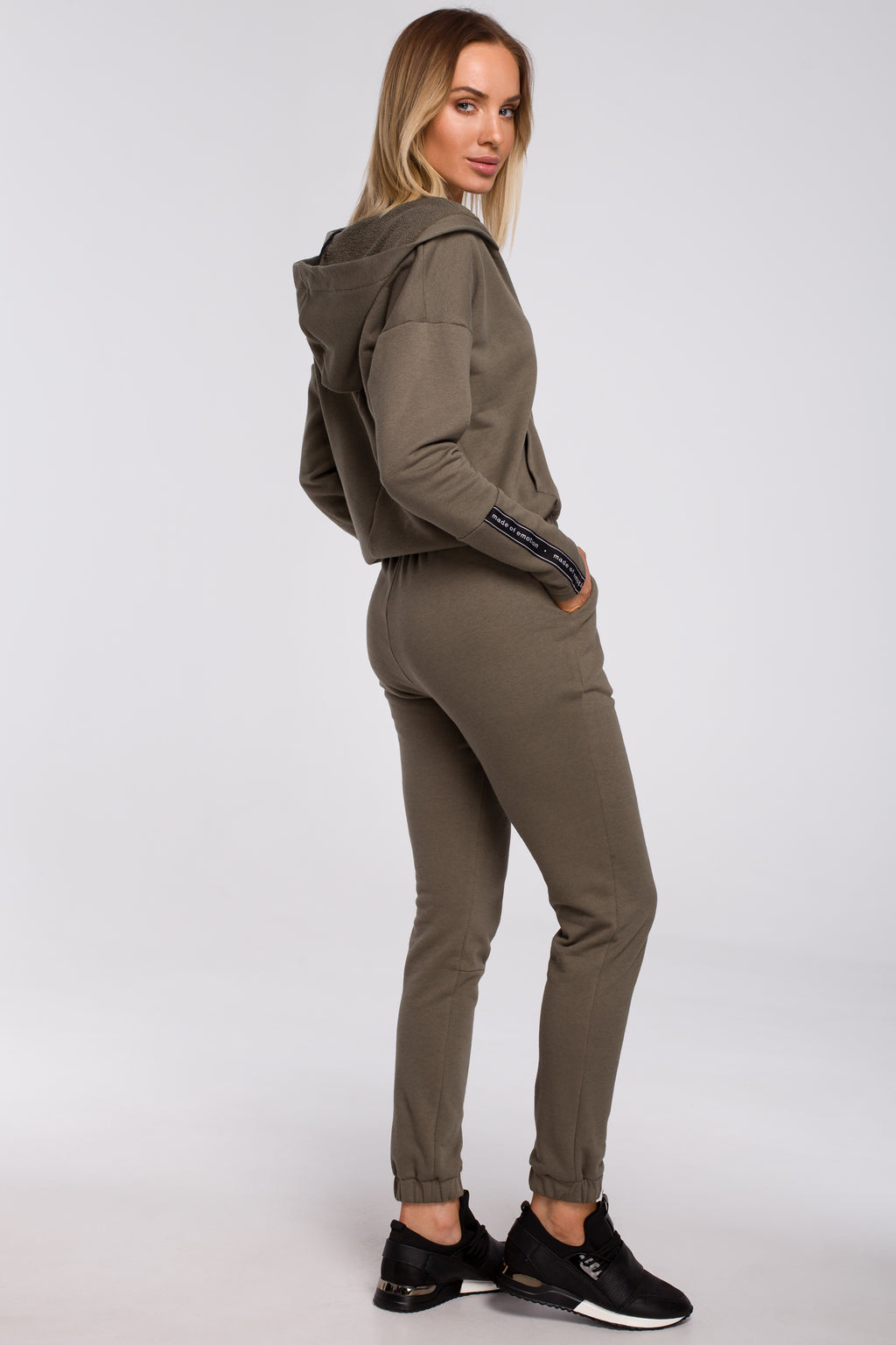 Khaki Joggers With Logo Stripes - So Chic Boutique