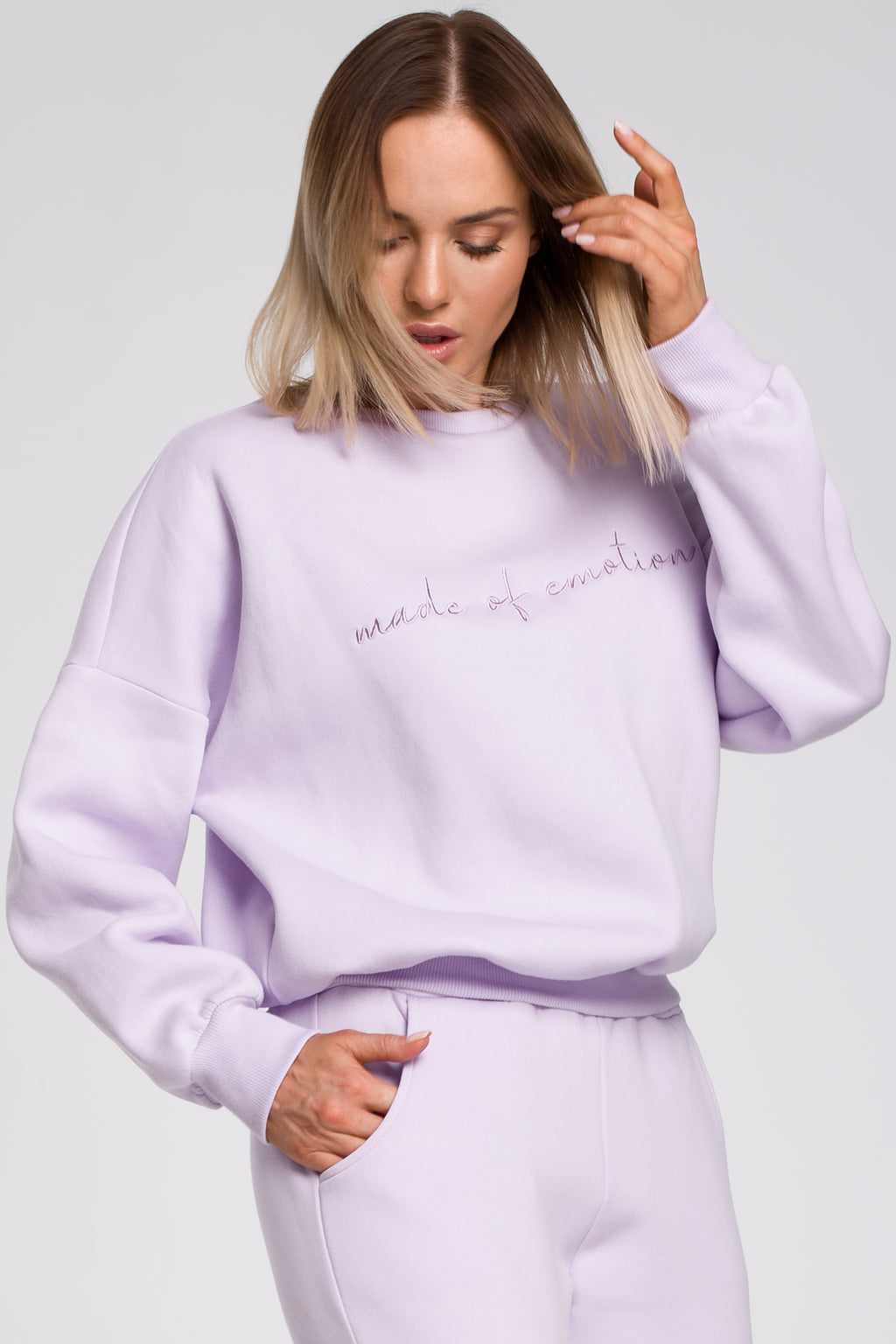 Lilac Embroidered Sweatshirt - So Chic Boutique
