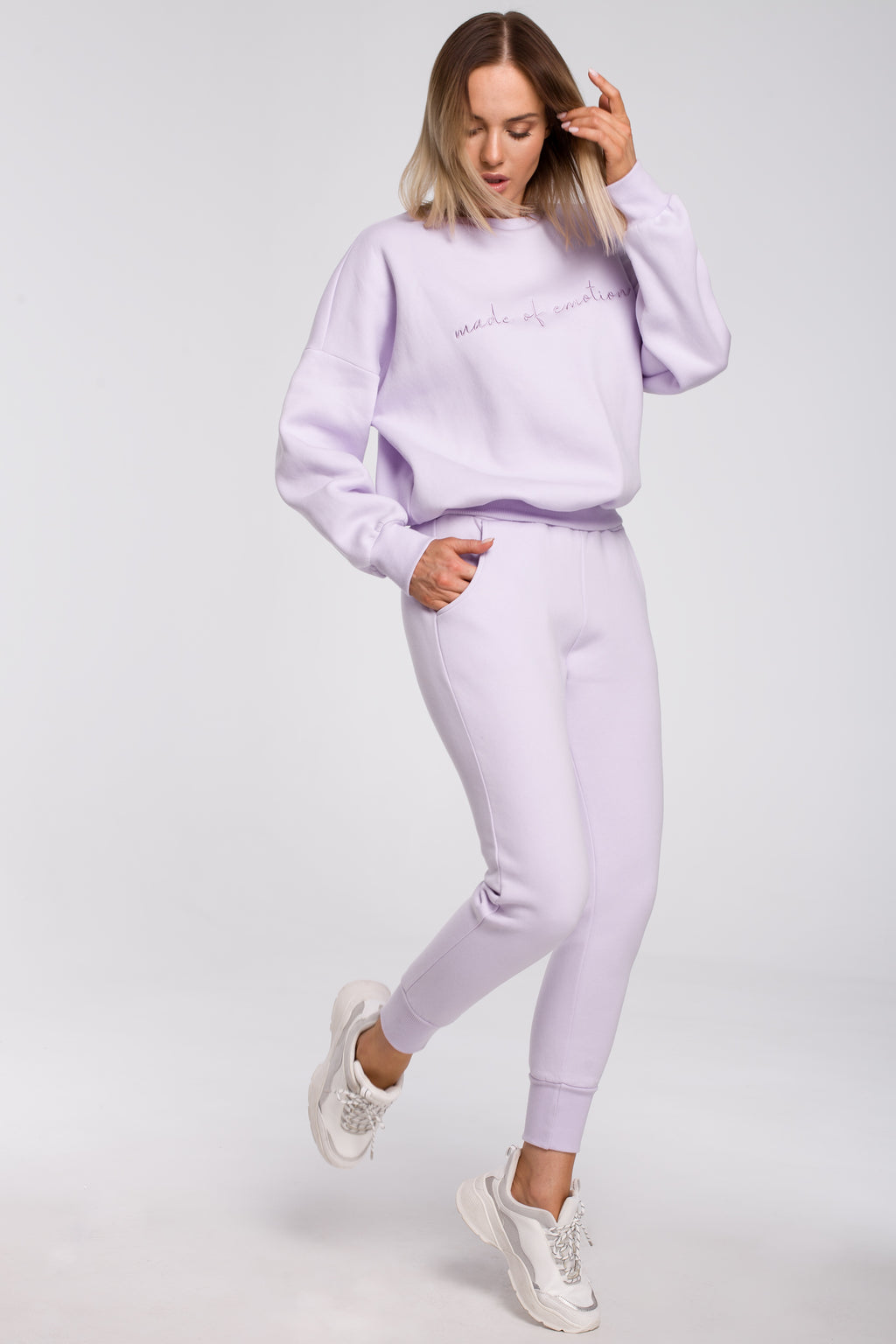 Lilac Joggers With Elastic Waist - So Chic Boutique