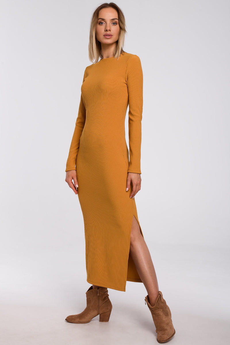 Maxi Ribbed Mustard Dress With A Side Slit - So Chic Boutique