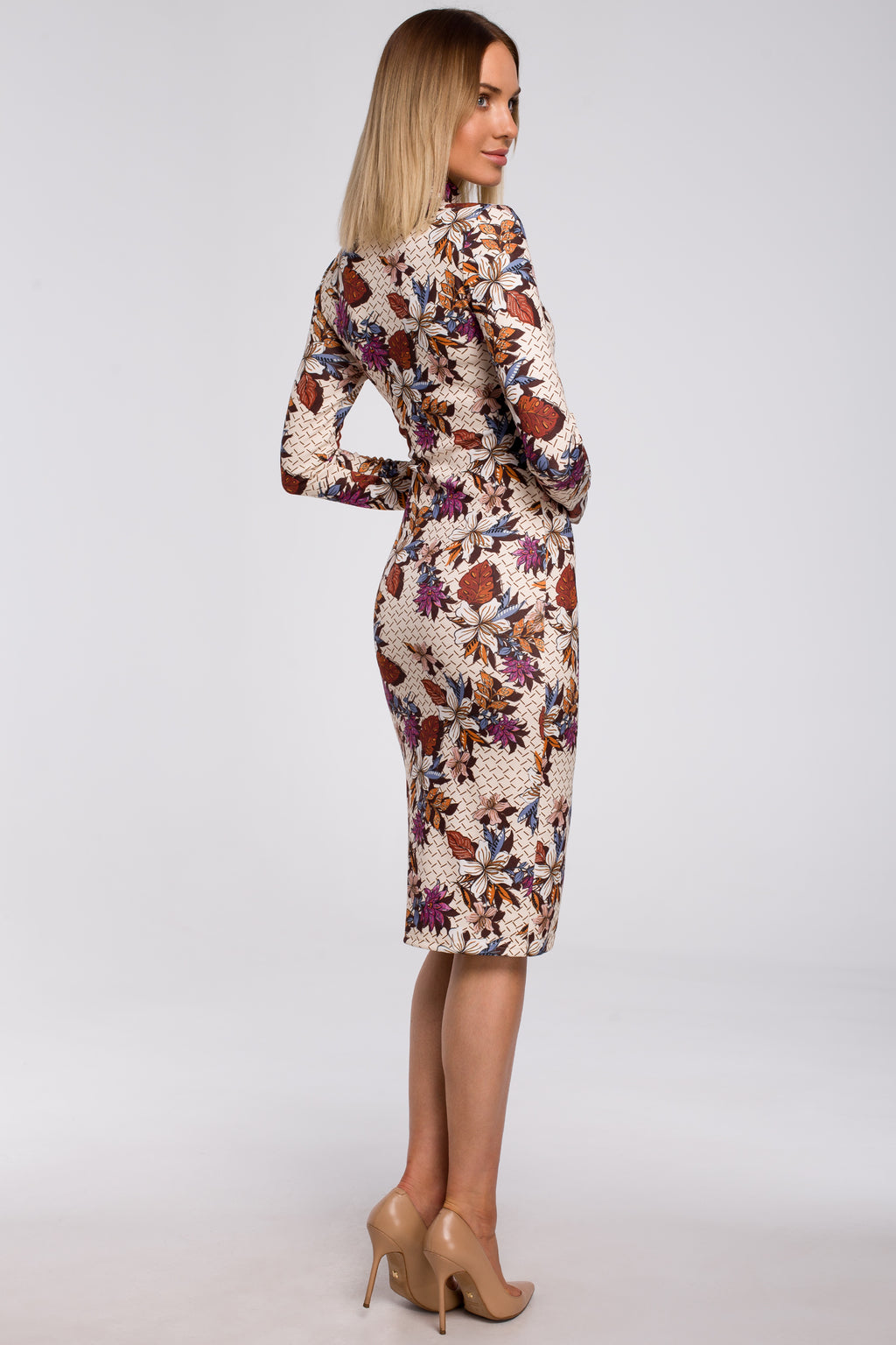 Midi Beige Floral Print Dress With A Turtleneck - So Chic Boutique