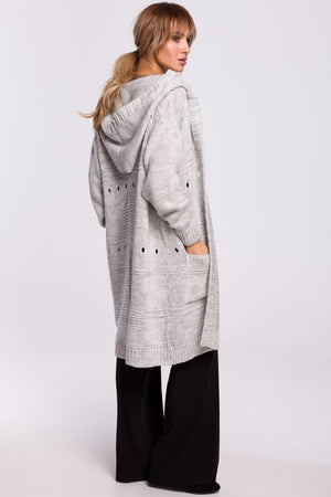 Grey Long Cardigan With A Hood - So Chic Boutique