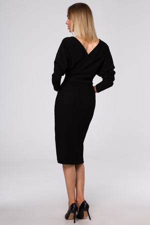 Midi Knit Black Dress With Wrap Top And A Belt - So Chic Boutique