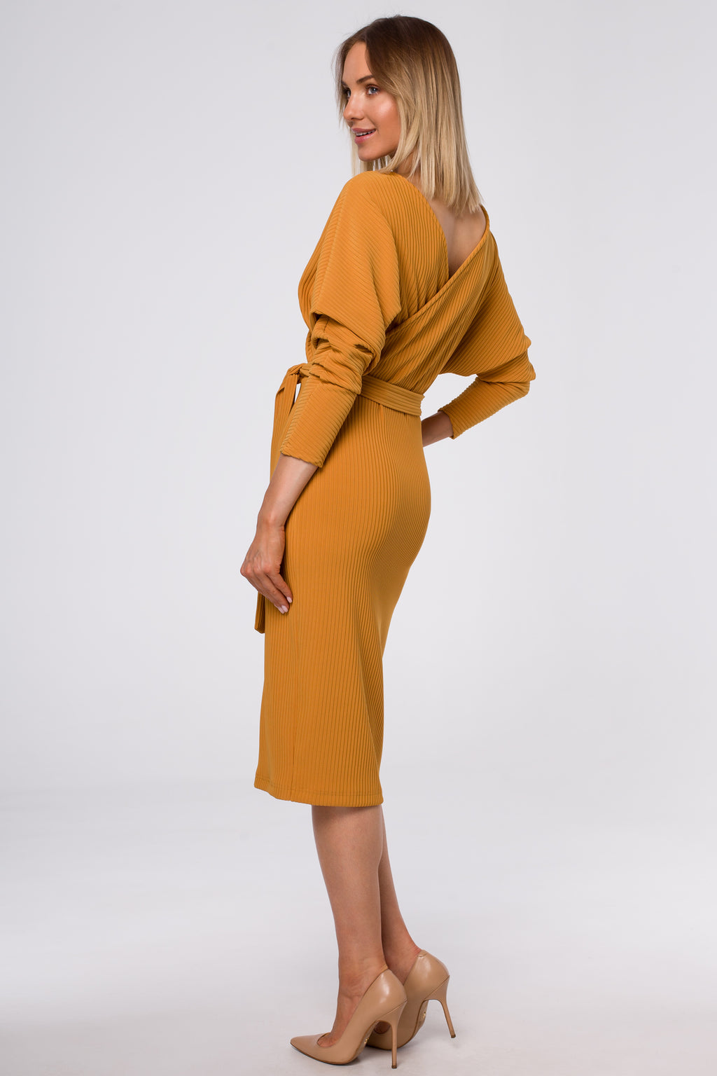 Midi Knit Mustard Dress With Wrap Top And A Belt - So Chic Boutique