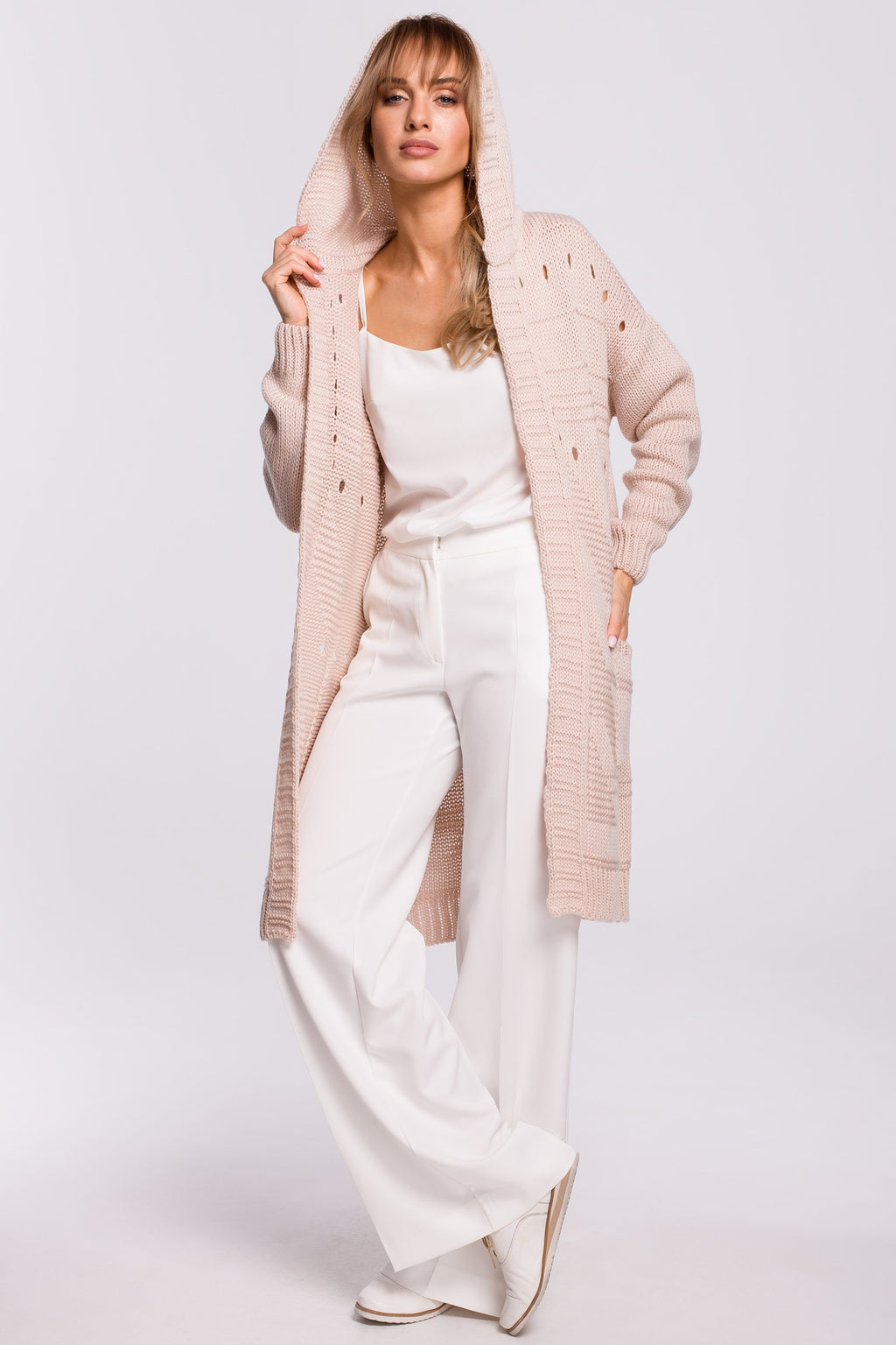 Powder Pink Long Cardigan With A Hood - So Chic Boutique