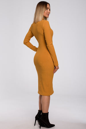 Midi Ribbed Mustard Dress With A Turtleneck - So Chic Boutique