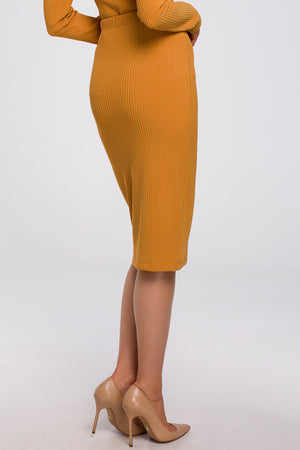 Mustard Ribbed Pencil Knit Skirt - So Chic Boutique