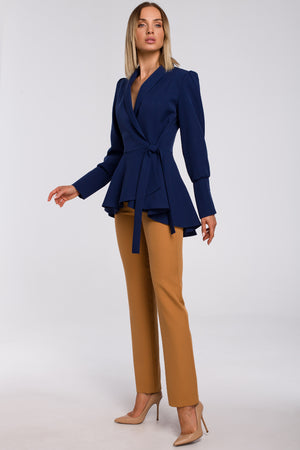 Navy Blue Asymmetric Side Tied Blazer - So Chic Boutique