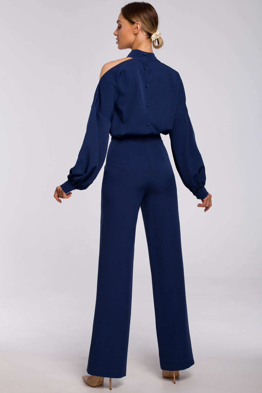 Navy Blue Bishop Sleeve Jumpsuit - So Chic Boutique