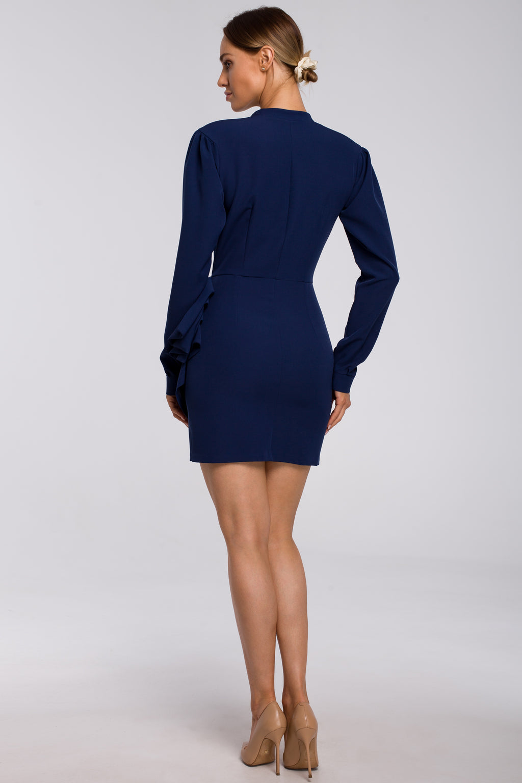 Navy Blue Mini Dress With Draped Side Detail - So Chic Boutique