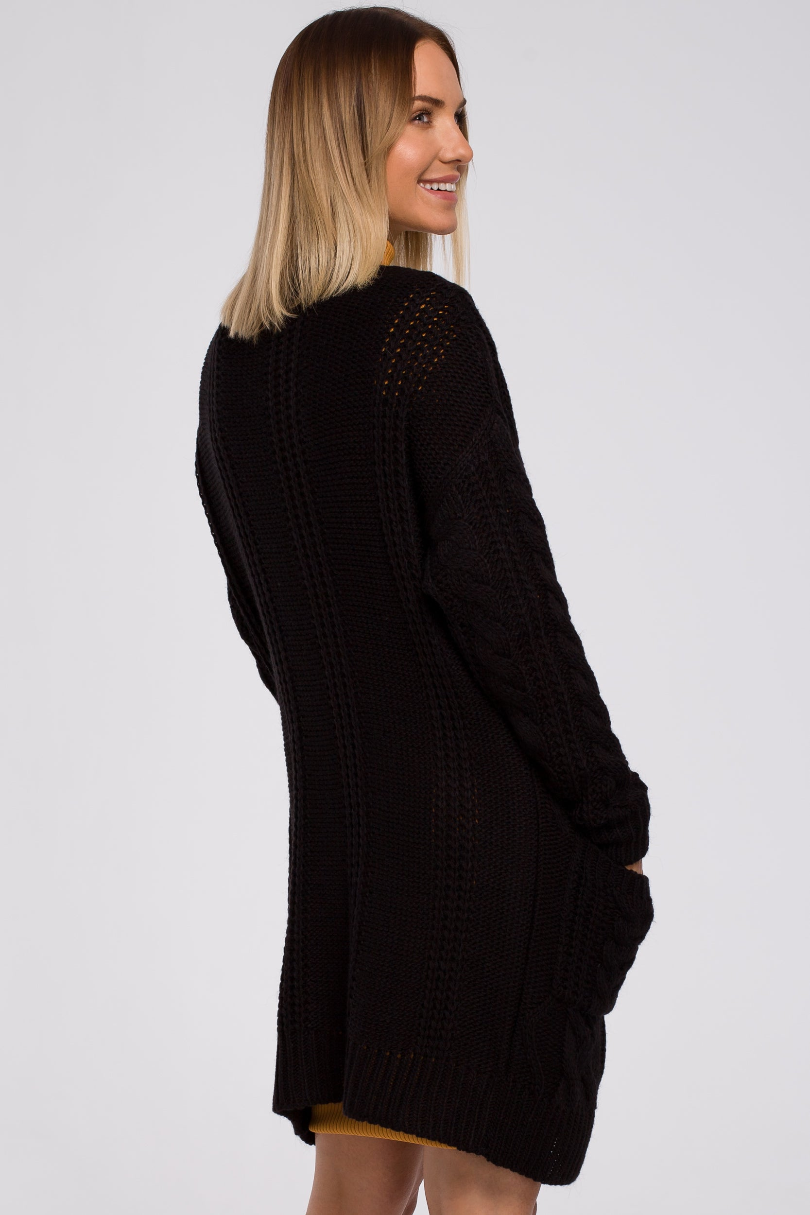 Open Front Black Cardigan With Braids - So Chic Boutique