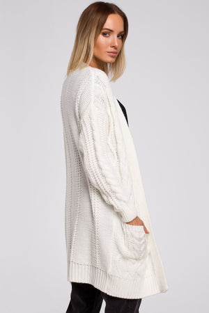 Open Front Ecru Cardigan With Braids - So Chic Boutique
