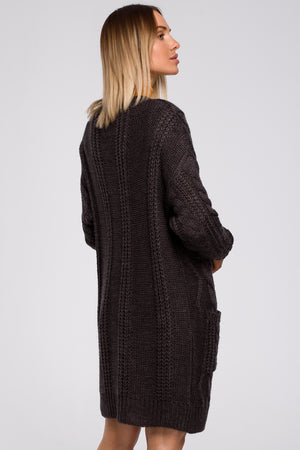 Open Front Graphite Cardigan With Braids - So Chic Boutique