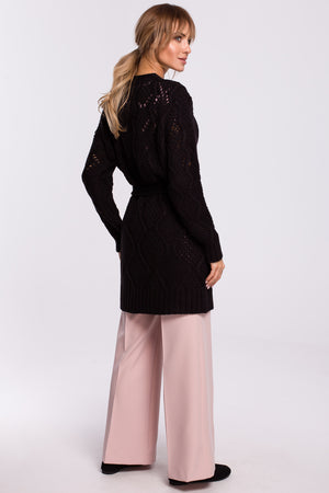 Open Knit Black Cardigan With A Belt - So Chic Boutique
