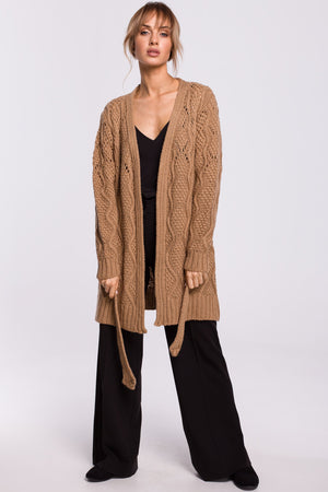 Open Knit Cappuccino Cardigan With A Belt - So Chic Boutique