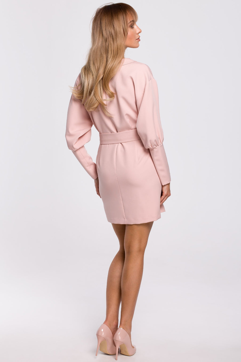 Powder Pink Mini Blazer Dress With Kimono Sleeves - So Chic Boutique