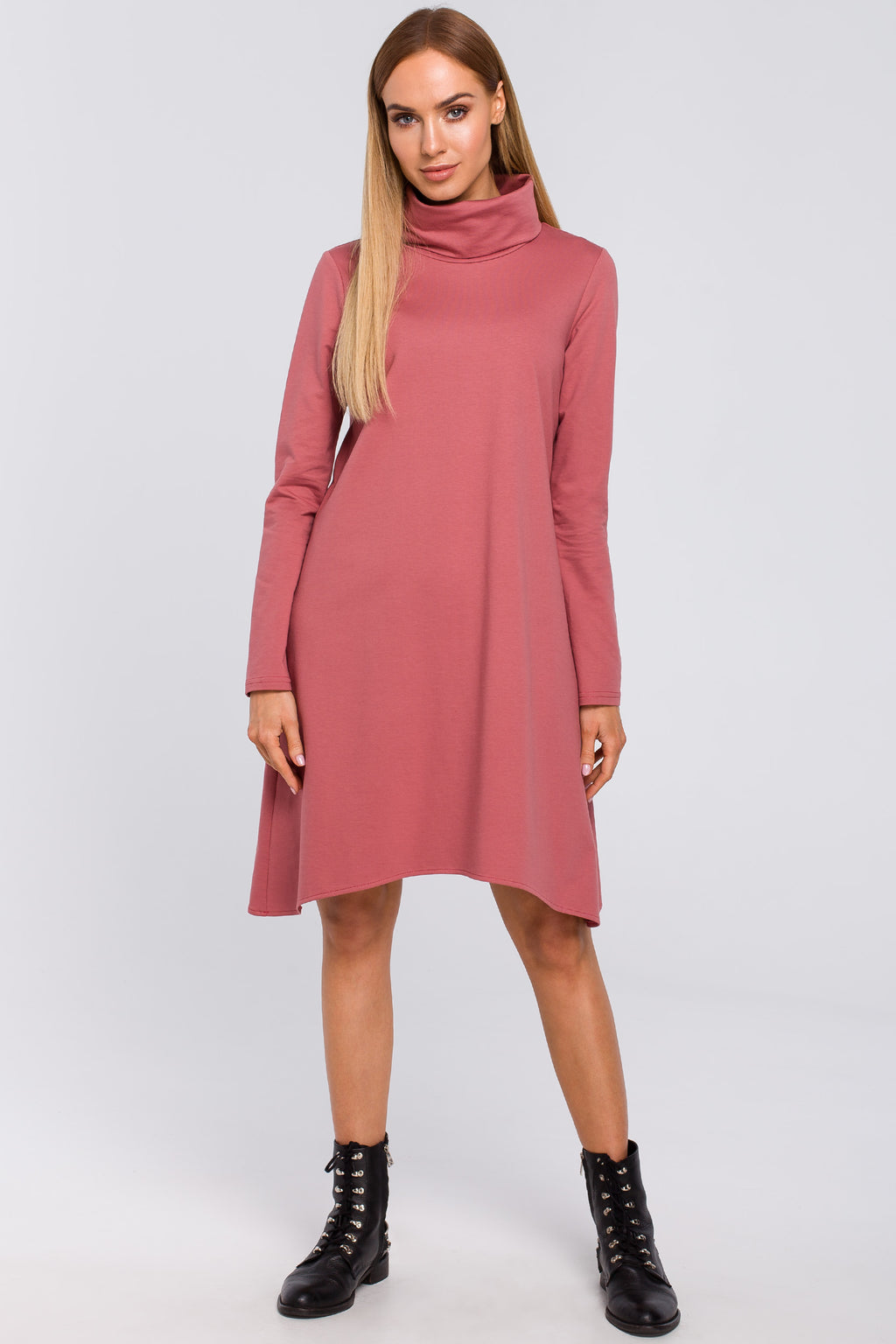 Indian Rose Cotton Turtleneck Trapeze Dress - So Chic Boutique