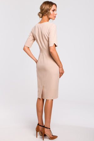 Beige Pencil Dress With V Cut Out Neckline - So Chic Boutique