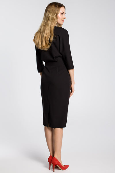 Black Midi Dress With Loose Fitting Top