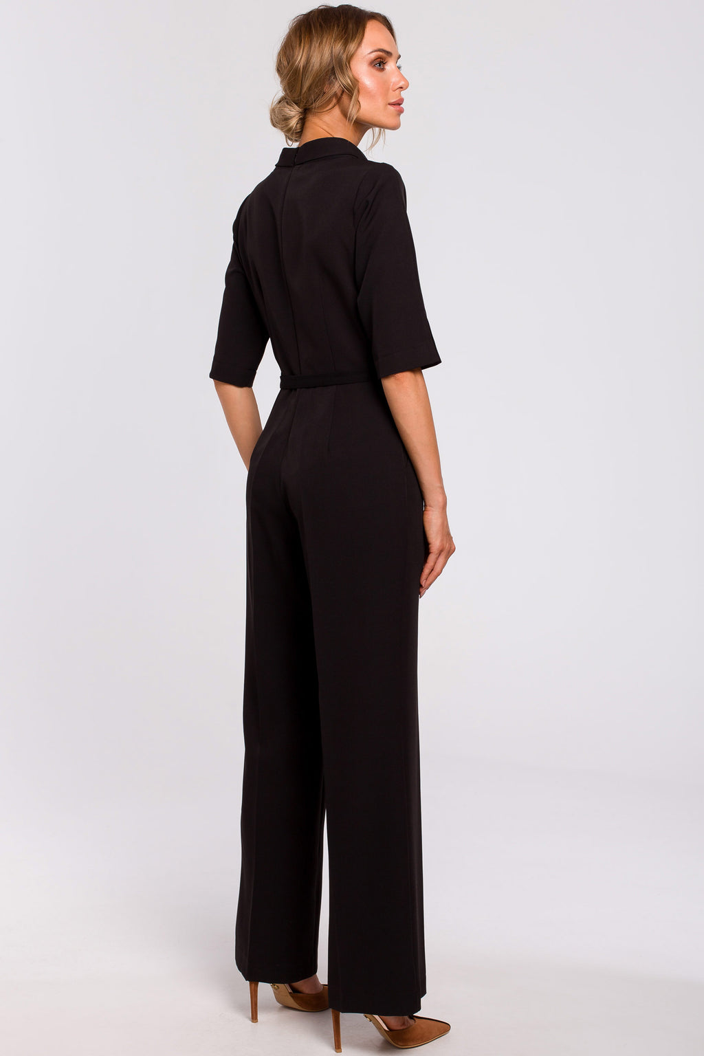 Black Stand Up Collar Jumpsuit With A Thin Belt - So Chic Boutique