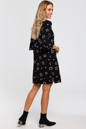 Star Print A Line Black Dress With Ruffle Sleeves - So Chic Boutique