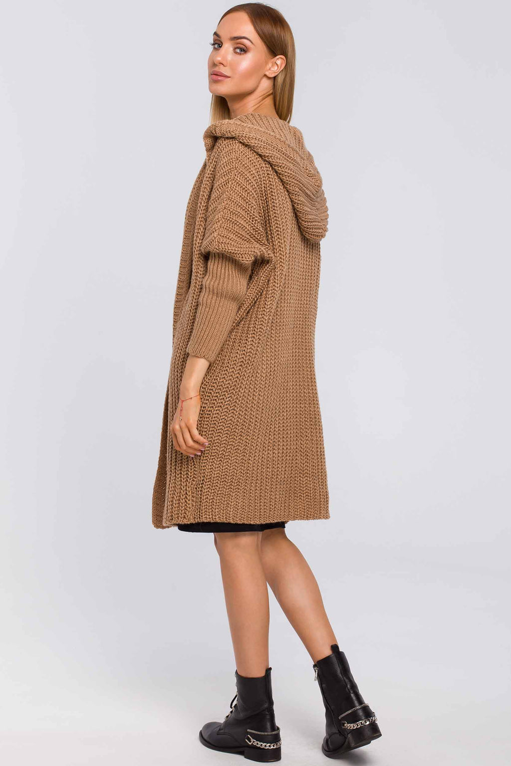 Camel Mid Length Open Front Cardigan With A Hood - So Chic Boutique